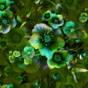 Moody flower greenish by Odette Lager