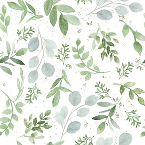 SEAMLESS soft watercolor medium leaves pattern