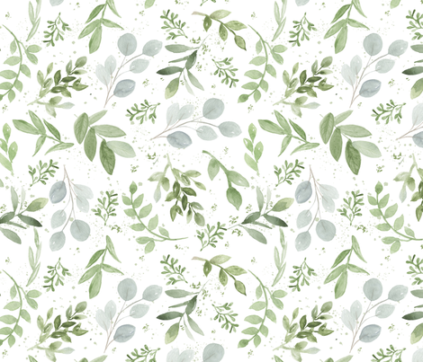 SEAMLESS watercolor smaller leaves pattern fabric by daily_miracles on Spoonflower - custom fabric