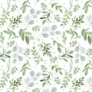SEAMLESS watercolor smaller leaves pattern