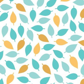 Turquoise Blue and Harvest Gold Leaves