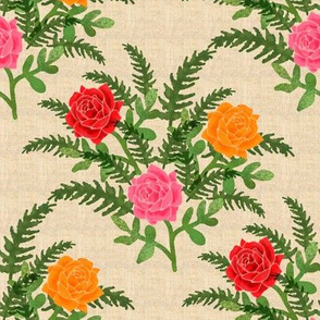 Roses and Ferns on Faux Linen Background