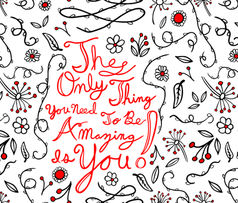 affirmation pattern black and red fabric by b0rwear on Spoonflower - custom fabric