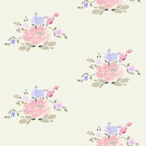 DAVK design -Blooming Watercolor Rose and tulips Pattern on  beige background