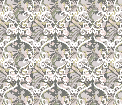 Marbled Paper White Scrolls fabric by louisehenderson on Spoonflower - custom fabric