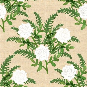 White Roses and Green Fern on Faux Linen Background
