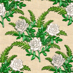 White Rose and Green Fern with 3D Illusion on Faux Linen Background