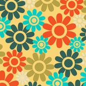 Retro Floral Vintage Mid-Century Modern Blue Green Orange Yellow White