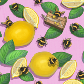 Sherbet Pink Lemon Bees/ Cute Nursery Summer Girls Kitchen Children Insect / Widdle Bitty Bees- Lemonade Stand