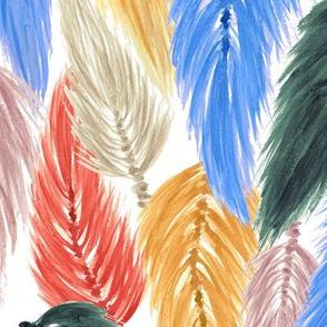 Watercolor Macrame Feather Toss in Earthy Rainbow