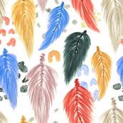 Watercolor Macrame Feathers + Dots in Earthtone Rainbow