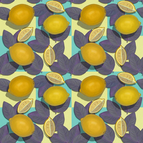 Lemons Purple Leaves Checkered//Retro Fruit Obsession//Kim Marshall
