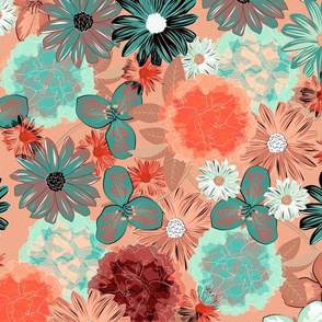Moody Floral (Coral)