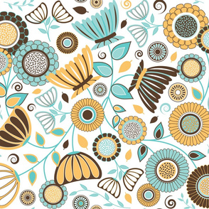 Elegant Modern Flowers - Turquoise Blue, Brown and Saffron Yellow