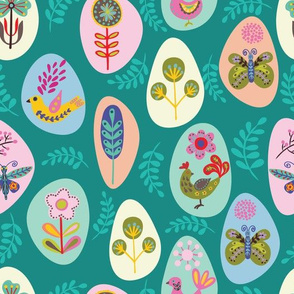 Folk art inspired pattern