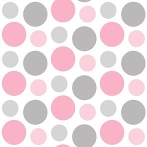 Pink Gray Grey Polka Dot Circle