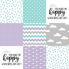 You are my sunshine//Lavender&Teal - Wholecloth Cheater Quilt