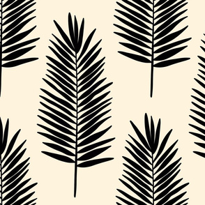 Leafy palms in black on cream