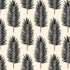 Leafy palms in black on cream - small