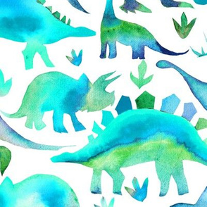 Blue and Green dinosaurs - white background - larger scale