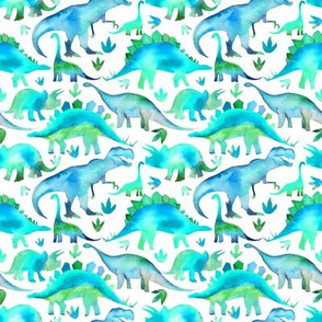 Blue and green dinosaurs - white background - smaller scale