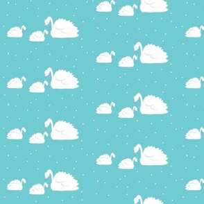 swans on turquoise white polka dots- small 35