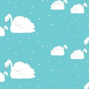 swans on turquoise white polka dots- MED525