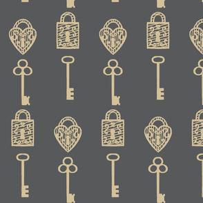Unlock / Old Keys & Padlocks / Antique Large   Tan & Grey