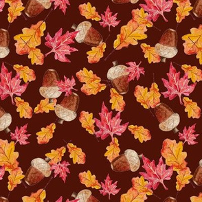 Acorns and red leaves pattern red background spoonflower