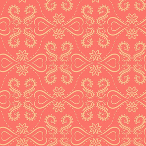 Coral and yellow Victorian style pattern