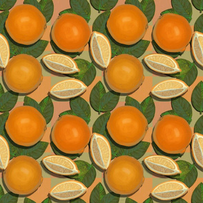 Oranges on Tangerine Checkered//Retro Fruit Obsession//Kim Marshall