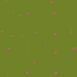 woollypetals starry eyed olive with bubblegum pink stars