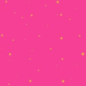 woollypetals starry eyed bubblegum pink with orange sherbert stars