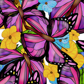 Butterflies in a Meadow of Flowers