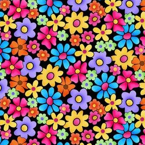 Whimsy Multicolor Flowers on Black