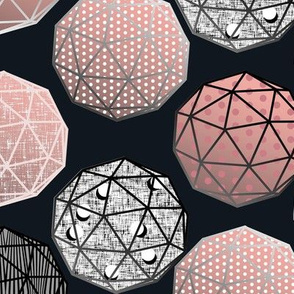 Pale Pink Dot this Geodesic, fancy on dark gray by Su_G_©SuSchaefer