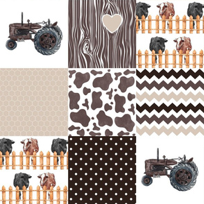 Farm//Love you till the cows come home//Hereford&Angus/Browns - Wholecloth Cheater Quilt