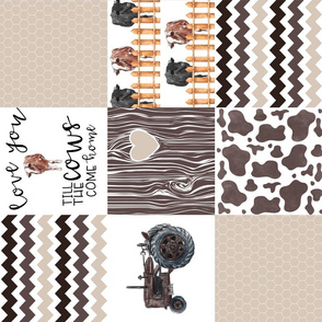 Farm//Love you till the cows come home//Hereford&Angus/Browns - Wholecloth Cheater Quilt - Rotated