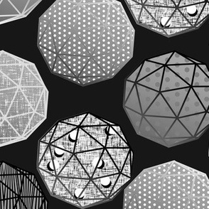 Grayscale Dot this Geodesic, fancy on dark gray by Su_G_©SuSchaefer