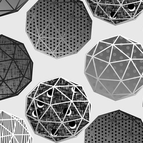 Grayscale Dot this Geodesic, fancy on Silver by Su_G_©SuSchaefer