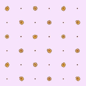retro flowers and dots lilac