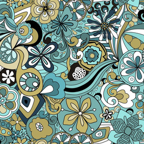 Retro Moody Florals-Blue and Green