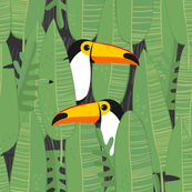 Bohemian Paradise. Toucans on leaves. Panel