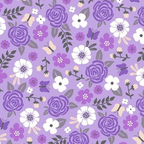 Flowers and Roses  Floral Purple