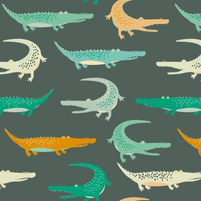 crocodiles on dark green