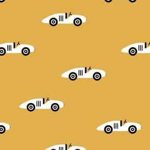 Cool minimal retro race cars vehicle designs for kids mustard yellow boys