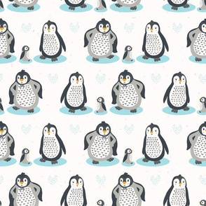Cute cartoon penguin family illustration