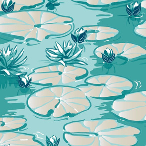 Monets Waterlilies   Mint Green + Cream