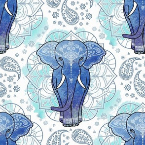 mandala indian elephant mint blue