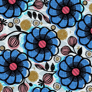 Maximalist flowers large scale African floral